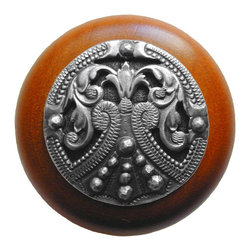 "Notting Hill - Notting Hill Regal Crest/Cherry Wood Knob - Antique Pewter - Notting Hill Decorative Hardware creates distinctive, high-end decorative cabinet hardware. Our cabinet knobs and handles are hand-cast of solid fine pewter and bronze with a variety of finishes. Notting Hill's decorative kitchen hardware features classic designs with exceptional detail and craftsmanship. Our collections offer decorative knobs, pulls, bin pulls, hinge plates, cabinet backplates, and appliance pulls. Dimensions: 1-1/2"" diameter"