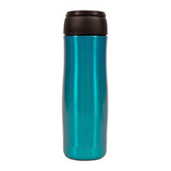 HighWave - JOEmo XL, Aqua - This award-winning coffee mug holds a comfortable 16 ounces under the lid, keeps liquids hot for 6 hours, and features a button to open and plate to close. JOEmo XL fits in all car drink holders. Great for travel, office and on-the-go sipping!