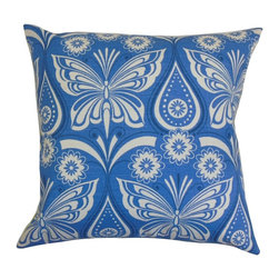 """The Pillow Collection - Jorgen Floral Pillow Blue 20"""" x 20"""" - Decorate this vibrant accent pillow in your room for an extraordinary style. This stylish square pillow has a striking design with floral and animal patterns. Butterflies and flowers adorn this throw pillow giving it a refreshing vibe. Place this decor pillow on the sofa, bed, seat or floor to add dimension. This 20"""" pillow provides extra comfort with its 100% cotton fabric. Hidden zipper closure for easy cover removal.  Knife edge finish on all four sides.  Reversible pillow with the same fabric on the back side.  Spot cleaning suggested."""