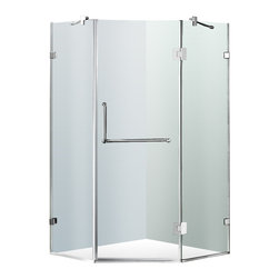 """VIGO Industries - VIGO 40 x 40 Frameless Neo-Angle 3/8"""" Shower, Without Base - Both dramatic and space-saving, the VIGO frameless neo-angle shower enclosure creates a beautiful focal point for your bathroom."""