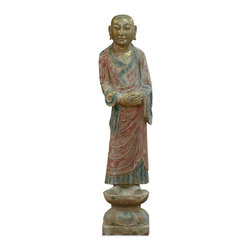 China Furniture and Arts - Stone Royal Servant - Depicting an ancient Chinese servant, the beauty of this sculpture lies in its exquisite details. Serene facial expression and delicate clothing folds make this piece almost life-like. The antiqued hand-painted finish adds a subtlety of color to the piece. Perfect for indoor and outdoor use.