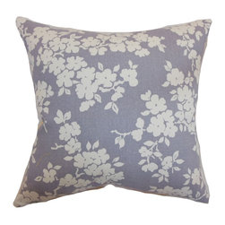 """The Pillow Collection - Vieste Floral Pillow Lavender 18"""" x 18"""" - Decorate your interiors with this homey accent pillow. This floral throw pillow is classy and chic. The lavender colored background is accented with white blooming flowers. This decor pillow is ideal for casual and formal settings. You can mix and match this square pillow with solids, patterns and textured pillows. This 18"""" pillow is made from a combination of 55% cotton and linen fabric. Hidden zipper closure for easy cover removal.  Knife edge finish on all four sides.  Reversible pillow with the same fabric on the back side.  Spot cleaning suggested."""