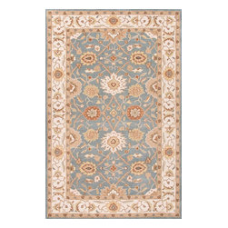 Jaipur Rugs - Hand-Tufted Durable Wool Blue/Ivory Area Rug (5 x 8) - The Poeme Collection takes traditional designs and re-invents them in a palette of modern, highly livable colors. Each design is made from premiere hand-spun wool and crafted with precision for the look and feel of a hand-knotted rug, at the more affordable cost of a hand-tufted. Poeme will effortlessly coordinate individual design elements to finish any room.