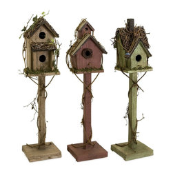 iMax - iMax Carthage Standing Birdhouse, Set of 3 X-3-49092 - Set of three standing weathered birdhouses in varying colors and shapes, exclusive to IMAX.