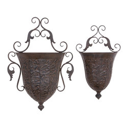 None - Metal Wall Planter (Set of 2) - This metal wall planter is a set of two wall mountable inverted bell shaped planters. Each of two can be adjusted in any desired way- combined or separately at different places to spread out natural decoration flavor.