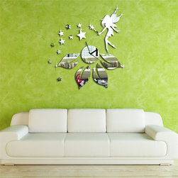 3d DIY Fairy Girl And Butterfly Wall Decal Clock for Girl' Room - Package Include: