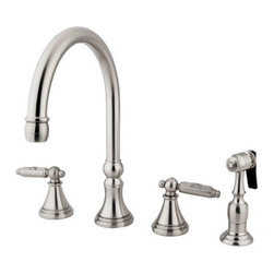 Kingston Brass - Two Handle Kitchen Faucet, Satin Nickel - Furnished with a brass sprayer, the small bell-shaped escutcheons and slender two-layered base rings make up this traditional style widespread faucet.