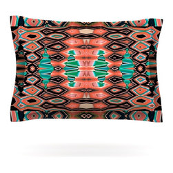 "Kess InHouse - Nina May ""Deztecca Salmon"" Orange Teal Pillow Sham (Woven, 40"" x 20"") - Pairing your already chic duvet cover with playful pillow shams is the perfect way to tie your bedroom together. There are endless possibilities to feed your artistic palette with these imaginative pillow shams. It will looks so elegant you won't want ruin the masterpiece you have created when you go to bed. Not only are these pillow shams nice to look at they are also made from a high quality cotton blend. They are so soft that they will elevate your sleep up to level that is beyond Cloud 9. We always print our goods with the highest quality printing process in order to maintain the integrity of the art that you are adeptly displaying. This means that you won't have to worry about your art fading or your sham loosing it's freshness."