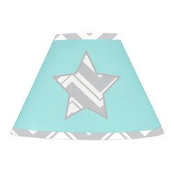 Sweet Jojo Designs - Gray Turquoise ZigZag Chevron Lamp Shade - Gray and Turquoise Zig Zag Lamp Shade will help complete the look of your Sweet Jojo Designs room. This adorable lamp shade will fit any standard lamp base (base not included). Dimensions: 4 in. x 7 in. x 10 in.