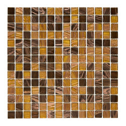 Somertile - SomerTile 12x12-in Cuivre 1-in Amber Translucent Glass Mosaic Tile (Case of 13) - Decorate your bathroom or kitchen walls and floors with these modern glass mosaic tiles. Their lustrous beauty and contemporary appeal are eye-catching and impressive,making you feel luxurious. The neutral tones also make these tiles easy to match.