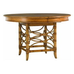 Lexington - Tommy Bahama Home Beach House Coconut Grove Dining Table - Intimate dining or breakfast nooks will be perfect for this 48-inch diameter table. The leather wrapped bent rattan table base is eye catching and supports the additional leaf for dinner parties of six.
