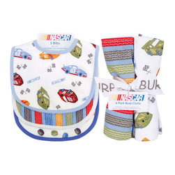 "Trend Lab - Bouquet Set - NASCAR - Bib & Burp Cloth - Keep messes to a minimum with this stylish NASCAR Bib and Burp Cloth Set by Trend Lab. Set includes three bibs and four burp cloths each with fun, modern printed cotton on the front and terry on the back. Bib patterns include: one racecar and checkered flag scatter print in red hot, cornflower blue, sky blue, mango orange, olive and charcoal on a white background with sky blue trim; one tire tread stripe print in red hot, cornflower blue, mango orange, olive and charcoal on a sky blue background with white trim; and one tire dot scatter print in red hot, cornflower blue, sky blue, mango orange, olive and charcoal on a white background with cornflower blue trim. Burp cloth patterns include: two race car and checkered flag scatter prints in red hot, cornflower blue, sky blue, mango orange, olive and charcoal on a white background; one tire dot scatter print in red hot, cornflower blue, sky blue, mango orange, olive and charcoal on a white background; and one tire tread stripe print in red hot, cornflower blue, mango orange, olive and charcoal on a sky blue background. Each bib measures 9"" x 12"" with Velcro closure and each burp cloth measures 10"" x 13"". Bib and Burp Cloth Set coordinates with the NASCAR collection by Trend Lab. NASCAR is a registered trademark of the National Association for Stock Car Auto Racing, Inc."