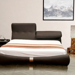 """Casabianca Furniture - Luxe King Platform Bed - Features: -Material: Leather/PVC. -Headboard can go up or down to find the perfect comfort for your back. -Design on the footboard and sideboards made with stainless steel. -Mattress is supported on wood slats. -Overall Dimensions: 45"""" H x 83"""" W x 93"""" D."""