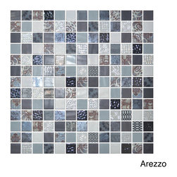 None - Emrytile 13.1-inch Onix Cosmic Glass Mosaic Tile Sheets (Pack of 5) - This pack of five metallic-finished glass mosaic tile sheets boast a beautiful shimmer that only glass can offer. With these sheets of 1-inch glass tiles,you can add that rich movement and variation of color to your interior space.