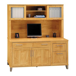 """Bush - Bush Somerset 60"""" Computer Credenza with Hutch in Maple Cross - Bush - Home Office Desks - WC8142903PKG1 - Bush Somerset Hutch for 60 inch L-Desk in Maple Cross (included quantity: 1) With its warm and appealing Maple Cross finish, the Bush Somerset 60"""" Hutch lends a naturalistic look to your home office. This luxury hutch fits atop the Bush 60"""" Computer Desk, and features a rustic flair with all the conveniences of the ultra-modern.  Features:"""