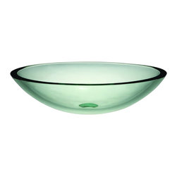 DecoLav - Decolav 1129T-TNG Translucence Oval 19mm Glass Vessel in Transparent Natural Gla - Decolav 1129T-TNG Translucence Oval 19mm Glass Vessel in Transparent Natural GlassDECOLAV's Translucence Oval 19mm Glass Vessel is sleek and contemporary. It is available in a transparent or frosted finish. These nineteen millimeter tempered glass lavatories make an unforgettable statement with thier strong horizontal lines and superb workmanship.Decolav 1129T-TNG Translucence Oval 19mm Glass Vessel in Transparent Natural Glass, Features:&#149 19mm tempered glass