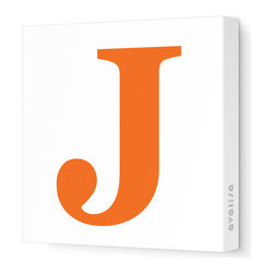 """Avalisa - Letter - Upper Case 'J' Stretched Wall Art, 12"""" x 12"""", Pumpkin - Spell it out loud. These uppercase letters on stretched canvas would look wonderful in a nursery touting your little one's name, but don't stop there; they could work most anywhere in the home you'd like to add some playful text to the walls. Mix and match colors for a truly fun feel or stick to one color for a more uniform look."""
