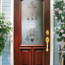 Estate Doors - This door, DbyD-1373, is a solid Mahogany entry door with custom Wheel Engraved Glass.  This door can be built most any size and out of most any hardwood.