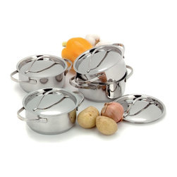 Demeyere - Demeyere Resto Mini Dutch Ovens with Lids - 4 pc. Set - 84012 - Shop for Sauce and Saute Pans from Hayneedle.com! Imagine the dinner party possibilities ... the Demeyere Resto Mini Dutch Ovens with Lids - 4-Piece Set includes four right-sized mini Dutch ovens with tight-fitting lids. The pots each have dual stay-cool handles as do the lids and all pieces were crafted of 18/10 stainless steel with a 4mm thick 3-layer base to quickly and evenly conduct heat. These pans are oven-safe work on all cooktops including induction and are dishwasher-safe.About Demeyere CookwareFounded in 1908 Demeyere is a family-owned company based in Belgium. The brand has earned a devoted following for its high-quality stainless steel cookware which features the latest culinary innovations. Used by professional chefs and home cooks worldwide Demeyere cookware combines performance durability sleek design and technological innovation. In the late 1960s the company pioneered the use of layered aluminum construction for exceptional heat conduction. Other innovations include InductoSeal 7-PlyMaterial and TriplInduc technologies. The InductoSeal base features seven different alloys including a copper disk for maximum heat distribution. Demeyere's patented 7-PlyMaterial consists of a thick aluminum-alloy core sandwiched between a layer of pure aluminum on either side for even heat distribution. TriplInduc combines three metal alloys to make the cookware suitable for all types of cooking methods including induction. Pans and pots feature ergonomic welded handles rims designed for dripless pouring and durable stick-resistant finishes. They're suitable for use on any cooktop and are dishwasher-safe for easy cleanup.