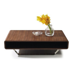 CONTEMPORARY WALNUT VENEER RECTANGULAR COFFEE TABLE OZY - Coffee table Ozu features a natural walnut wooden veneer mounted on a chromed stainless steel base. Ecologically modern style.