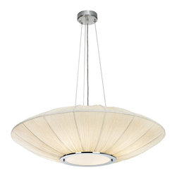 "Possini Euro Design - Possini Euro Planetarium Energy Saving Pendant Chandelier - This wonderfully expressive large chandelier features a wide disc-shaped shade. It's also energy efficient thanks to the use of CFL light bulbs. The contemporary retro look features a brushed nickel finish canopy and accents. Shade is in an ivory white color. 4 lights are nestled within the shade making this design ideal for dining tables or wide counters. From the Possini Euro Design lighting collection. Includes four 13 watt CFL bulbs. 32"" wide. 10"" high shade. Includes 10 feet of cable and wire. 4 3/4"" round canopy. Hang weight is 10 pounds.  Brushed nickel finish accents.  Ivory white shade.  Frosted white diffuser.  With energy efficient bulbs.   A stylish large chandelier.  Includes four 13 watt CFL bulbs.   32"" wide.   10"" high shade.   Includes 10 feet of cable and wire.   4 3/4"" round canopy.   Hang weight is 10 pounds."