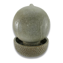 Sand Finish Porcelain Ball Fountain 8 Inch Diameter - This beautiful sand finished ball fountain makes a great addition to hallways, foyers, dens and patios. Made of porcelain, the fountain features an 8 inch diameter ball on top of a 3 inch high reservoir base. The water bubbles from a hole in the top of the ball, and runs down the sides of the ball to the reservoir. It comes with an electric pump. This fountain makes a great gift for friends and family.