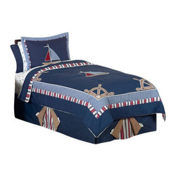 Sweet Jojo Designs - Nautical Nights Children's Bedding Set Twin (4 Piece) - The Nautical Nights Children's Bedding Set by Sweet Jojo Designs will help you create an incredible room for your child. This boy bedding set features nautical themed appliques and embroidery works of sailboats, anchors and helms. This collection uses the stylish colors of navy, red, chambray blue and camel. The design uses 100% cotton fabrics combined with micro suede fabrics that are machine washable for easy care. This wonderful set is available in a twin and full/queen size.