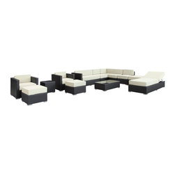 LexMod - Fusion 12 Piece Outdoor Patio Sectional Set in Espresso White - Harmonious positioning lends grace to every gathering with this sprawling outdoor sectional set. Commingle as participants contribute individual strengths to combine into a collective powerhouse of perfection. Turn your surroundings into a sought after meeting place in this consummate arrangement of beauty.