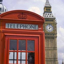 Wallmonkeys Wall Decals - London Phone Booth/big Ben Wall Mural - 30 Inches H - Easy to apply - simply peel and stick!