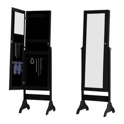 Corner II - Corner II Nordic Midnight Mirror Armoire in Black - Mirror Armoire in Black belongs to Nordic Collection by Corner II The NORDIC MIDNIGHT Mirror armoire includes ample storage for jewelry and other small items. It has a full length mirror on the front, and a small mirror on the inside. It is a free standing unit that sits attractively in any room! Mirror Armoire (1)