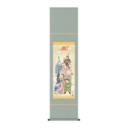 Hanging Scroll Seven Lucky Gods - Gorgeous Japanese hanging scroll with Seven Lucky Gods paint. Happily smiling gods will gather in your home to bring you extra lucks! It's painted by Yosui Ogata.  He grew up in the rural area where you see in many Sansuiga paintings.  He still remembers those scenary and expressed what he remembers from his childhood.