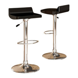 Sonax - Sonax CorLiving Low Back Bar Stool in Black Gloss (Set of 2) - Sonax - Bar Stools - B201BAD -Add spice to any bar or kitchen island with the Bar Stool featuring an ABS low form fitted back seat in Black Gloss, chromed gas lift and chromed support. The contemporary design will accent any decor setting while offering the option to adjust to variable bar heights with ease. A great addition to any home!