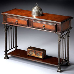 Butler - Metalworks Console Table w 2 Drawers & Shelf - Selected solid woods, Wood products and choice veneers. Finished metal sides. Physically distressed finish on top, sides, drawer fronts and lower shelf. Two drawers with Antique Brass finished hardware. 43.5 in. W x 15.5 in. D x 31.75 in. H