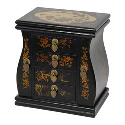 Oriental Furniture - Black Lacquer Standing Mirror Jewelry Box - This large Ming jewelry chest is more than suitable for a substantial jewelry collection.  Each drawer has a brass leaf pull, and the hinged lid lifts up to reveal a convenient mirror. Decorated with a hand-painted art panel on top, floral accents on the front and sides, and finished with an antiqued black lacquer, this beautiful chest is sure to wow!