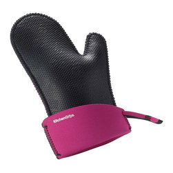 Kitchen Grips Chef's Mitt Large Raspberry - The Kitchen Grips extendable cuff oven mitt is the perfect way to protect your hands.  The oven mitt is heat resistant  protecting your hands from hot and cold thanks to the soft and pliable FLXaPrene™ material.  FLXaPrene™ is a non-porous material and prevents bacteria growth.  The mitt will protect your hands from steam and liquid burns even when wet.   Product Features      Heat resistant to 500° F (260° C)   FLXaPrene™ material prevents stains and bacteria   Water repellent - protects hands from steam and liquid burns   Non-slip grip   Increased insulation - raised nub surface texture creates insulation between heat source and hand   Flexible