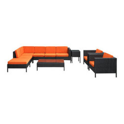 """LexMod - La Jolla 9 Piece Outdoor Patio Sectional Set in Espresso Orange - La Jolla 9 Piece Outdoor Patio Sectional Set in Espresso Orange - Shine with hidden brilliance with this powerful force of an outdoor living arrangements. Finely constructed espresso rattan seating sectionals with all-weather orange fabric cushions give a sense of space and roominess that allow for true flexibility and comfort. Aim higher and give thanks and appreciation to picture perfect days spent outside. Set Includes: One - La Jolla Outdoor Wicker Patio Armless Chair One - La Jolla Outdoor Wicker Patio Coffee Table One - La Jolla Outdoor Wicker Patio Corner Section One - La Jolla Outdoor Wicker Patio Left Arm Section One - La Jolla Outdoor Wicker Patio Loveseat One - La Jolla Outdoor Wicker Patio Ottoman One - La Jolla Outdoor Wicker Patio Side Table Two - La Jolla Outdoor Wicker Patio Armchairs Synthetic Rattan Weave, Powder Coated Aluminum Frame, Water & UV Resistant, Machine Washable Cushion Covers, Easy To Clean Tempered Glass Top, Ships Pre-Assembled Overall Product Dimensions: 113""""L x 105""""W x 28""""H Left Arm Section Dimensions: 35""""L x 31""""W x 28""""H Corner Section Dimensions: 31""""L x 31""""W x 28""""H Armless Chair Dimensions: 28""""L x 31""""W x 28""""H Coffee Table Dimensions: 47""""L x 28""""W x 13""""H Side Table Dimensions: 18""""L x 18""""W x 24""""H Armchair Dimensions: 35""""L x 31""""W x 28""""H Loveseat Dimensions: 47""""L x 31""""W x 28""""H Ottoman Dimensions: 31""""L x 31""""W x 13""""H Armrest Dimensions: 3""""W x 14.5""""HBACKrest Height: 14.5""""H Cushion Thickness: 3""""H Seat Height: 13""""H - Mid Century Modern Furniture."""