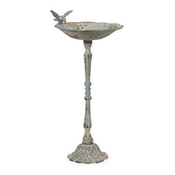 iMax - Santon Blue Birdbath - Small - This small bird feeder features a rustic, aged finish in pale blue. Place in the garden with some bird food to provide a delightful treat.