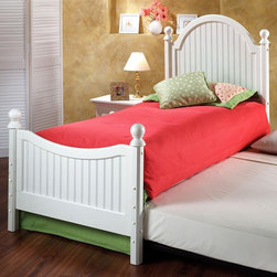 Hillsdale Furniture - Westfield Twin Poster Bed w Roll Out Trundle - Includes 4 post kit, suspension deck and roll-out trundle. Off White finish. Headboard: 41 in. W x 52 in. H. Footboard: 41 in. W x 30 in. H. Deck: 76 in. L x 39 in. W. Trundle: 73.15 in. L x 39.25 in. W x 4 in. HInspired by classic cottage styling, Hillsdale Furniture's Westfield youth bed features a traditional curved headboard, bead board details and lovely sculpted feet. Incised in a perfectly charming White this bed is a refreshing and cheerful.