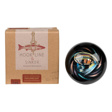 Hook Line and Sinker - Paperweight - A lovely accent to your work or home office, this paperweight is perfect for holding down important papers.   Glass / foam Imported