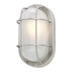 Design Classics Lighting - 11-Inch Oval Bulkhead Light - 39956 SS - This tough light will withstand extreme weather conditions. It is rated for outdoor use, yet attractive enough to be featured indoors as well. The stainless construction finish and thick frosted glass protect the bulb from exposure. It can be mounted on the wall or ceiling. Durability and no-nonsense style make this light a practical choice. Takes (1) 100-watt incandescent A19 bulb(s). Bulb(s) sold separately. UL listed. Wet location rated.