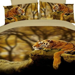 Lonely Tiger Duvet Cover Bedding Set, Dolce Mela - Experience the beauty of Dolce Mela's luxury bed linens.  This fine bedding set and its unique gift packaging create a great housewarming or a bridal shower gift.