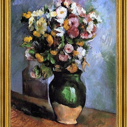 """Paul Cezanne-18""""x24"""" Framed Canvas - 18"""" x 24"""" Paul Cezanne Flowers in an Olive Jar framed premium canvas print reproduced to meet museum quality standards. Our museum quality canvas prints are produced using high-precision print technology for a more accurate reproduction printed on high quality canvas with fade-resistant, archival inks. Our progressive business model allows us to offer works of art to you at the best wholesale pricing, significantly less than art gallery prices, affordable to all. This artwork is hand stretched onto wooden stretcher bars, then mounted into our 3"""" wide gold finish frame with black panel by one of our expert framers. Our framed canvas print comes with hardware, ready to hang on your wall.  We present a comprehensive collection of exceptional canvas art reproductions by Paul Cezanne."""