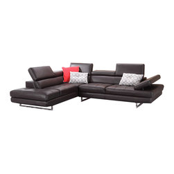 JNM Furniture - A761 Modern Leather Sectional Sofa, Coffee - The A761 Sectional  is class-fully designed with padded adjustable armrest that feature a ratchet system for adjust-ability. The A761 sectional also features 6 adjustable head cushions, and boxed back, seat cushions. This beautiful sectional is Constructed