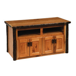 Fireside Lodge Furniture - Hickory Wide Screen Television Log Stand (Tra - Finish: TraditionalHickory Collection. Open shelf. Storage cabinets. Durable construction. Doors and drawer fronts are 0.50 in. overlay. All Hickory Logs are bark on and kiln dried to a specific moisture content. Clear coat catalyzed lacquer finish for extra durability. 2-Year limited warranty. 55 in. W x 22 in. D x 26 in. H (170 lbs.). 2 Shelves opening; 22 in. W x 24 in. D x 6 in. H
