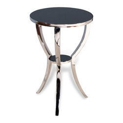 Kathy Kuo Home - Finn Modern Polished Silver Granite Top Round Side Table - Sleek and polished to perfection, the Finn round table evokes the irresistible elegance and easy style of Art Deco and Hollywood Regency, delivering an instant dash of glamour to any room.