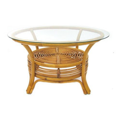 Pre-owned Round Rattan Coffee Table - We're currently loving natural elements indoors, and this round rattan coffee table will do just the trick. It has a glass top and woven spiral shelf below. It's in excellent vintage condition with no maker's marks.