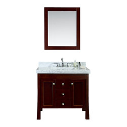 "Ariel - Greenbrier 36"" Single-Sink Bathroom Vanity Set - This vanity from our Greenbrier collection combines an elegant traditional design with exceptional durability.  The smooth walnut stain finish is a perfect complement to the white carrera marble countertop.  Ample storage is provided through three functional soft-closing drawers and two soft-closing recessed-panel doors with applied molding."