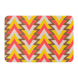 "KESS InHouse - Julia Grifol ""My Triangles in Red"" Orange Brown Memory Foam Bath Mat (17"" x 24"") - These super absorbent bath mats will add comfort and style to your bathroom. These memory foam mats will feel like you are in a spa every time you step out of the shower. Available in two sizes, 17"" x 24"" and 24"" x 36"", with a .5"" thickness and non skid backing, these will fit every style of bathroom. Add comfort like never before in front of your vanity, sink, bathtub, shower or even laundry room. Machine wash cold, gentle cycle, tumble dry low or lay flat to dry. Printed on single side."