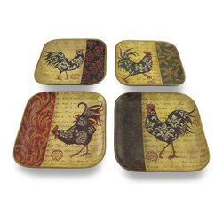 Zeckos - Decorative Ceramic Square Rooster Plates 10 Inch Set of 4 - This set of 4 decorative ceramic plates will add the finishing touch to any country, French or rooster themed room Made from ceramic, each 10 inch long, 10 inch wide (25x25 cm) plate features a regal rooster, a postcard inspired background, and a tapestry style motif in beautiful color rich tones of reds and earthy yellows with metallic antique gold colored trim. Display them in your dining room, kitchen or even the entryway They make a fabulous gift any rooster decor collectors would be proud to display NOTE: This set is intended for decorative purposes only, and not meant to be used with food.