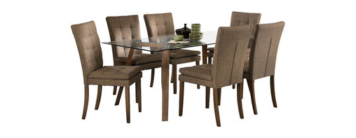 Homelegance - Homelegance Maitland 7-Piece Glass Top Dining Room Set with Beech Wood Legs - Wood and glass combine to create a modern look for your dining room in the Maitland collection. Minimalist construction allows the beech wood legs and trestle to support the rectangular glass top while the coordinating chairs feature a neutral fabric that compliment the natural tone finish of the wood. The understated design will instantly wow your family and friends.